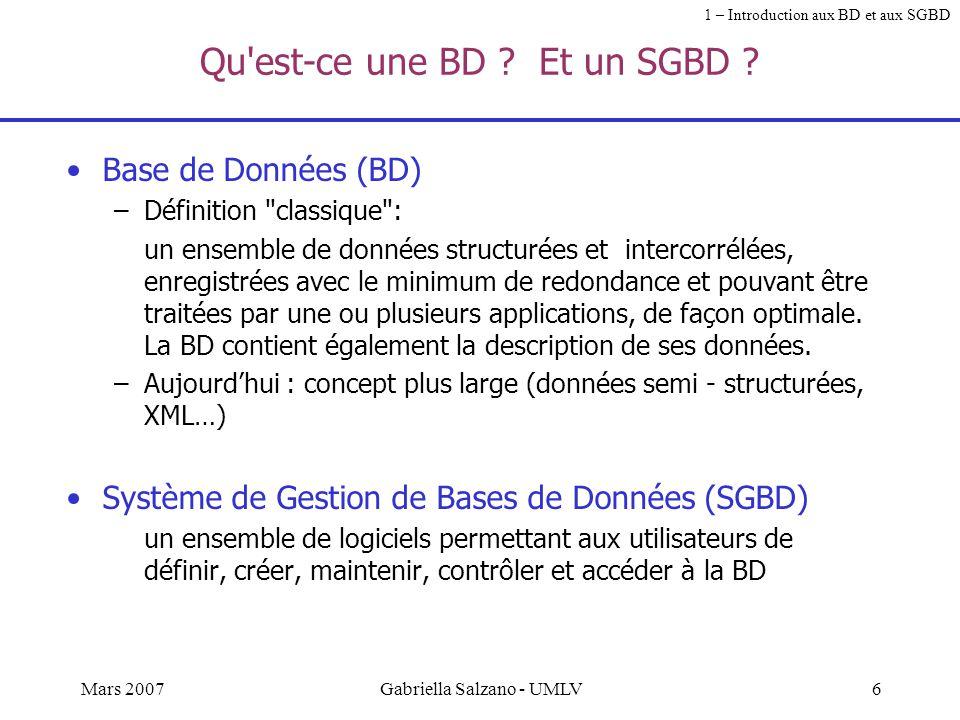 5Mars 2007Gabriella Salzano - UMLV Les trois dimensions d'une application Interface Données SGBD Bases de Données Langages de programmation / manipula