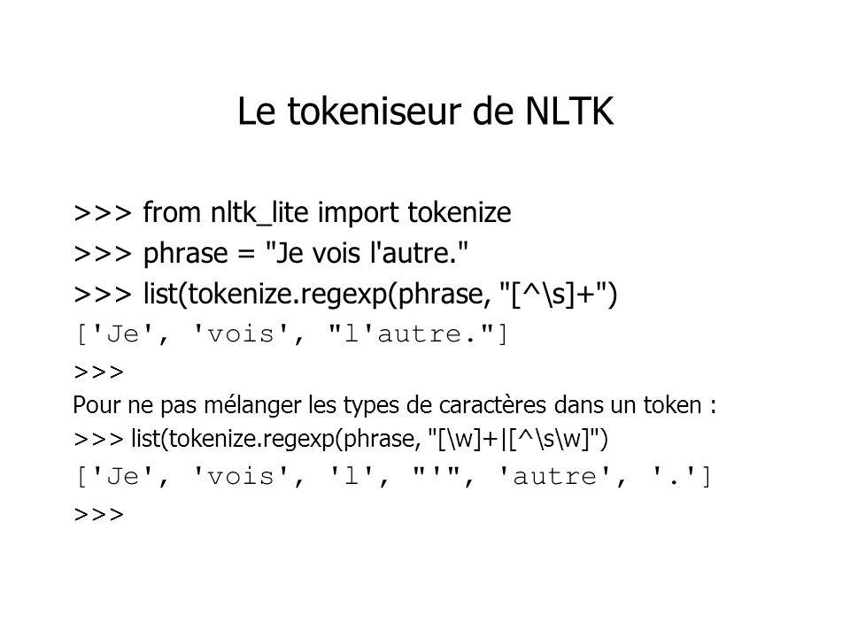 Le tokeniseur de NLTK >>> from nltk_lite import tokenize >>> phrase =