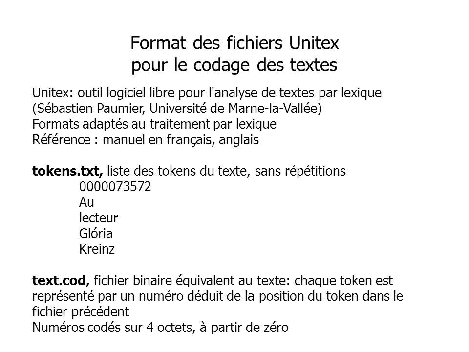 Unitex: outil logiciel libre pour l'analyse de textes par lexique (Sébastien Paumier, Université de Marne-la-Vallée) Formats adaptés au traitement par