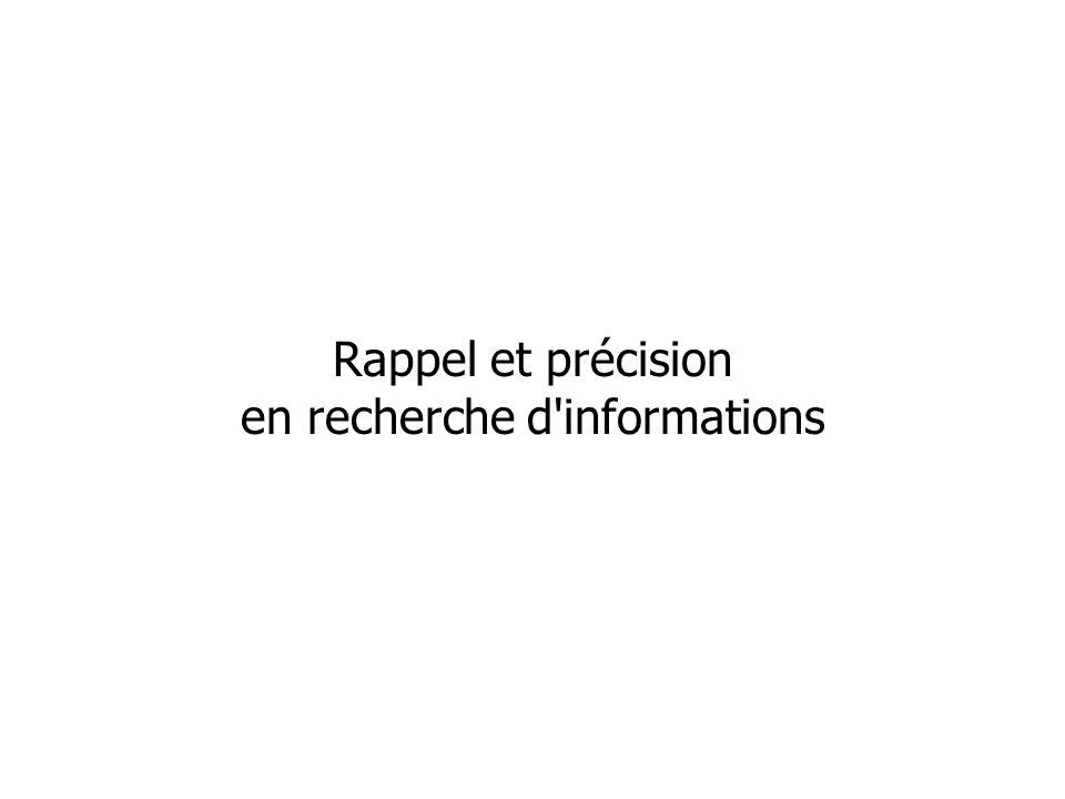 Rappel et précision en recherche d'informations