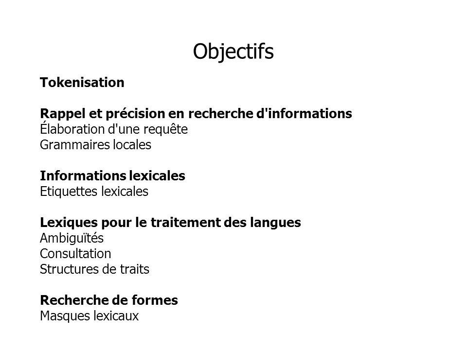 Tokenisation Rappel et précision en recherche d'informations Élaboration d'une requête Grammaires locales Informations lexicales Etiquettes lexicales