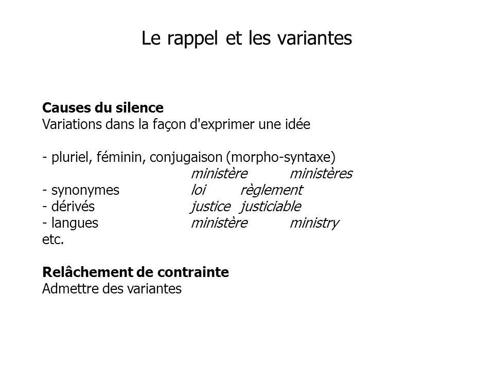 Causes du silence Variations dans la façon d'exprimer une idée - pluriel, féminin, conjugaison (morpho-syntaxe) ministèreministères - synonymesloirègl