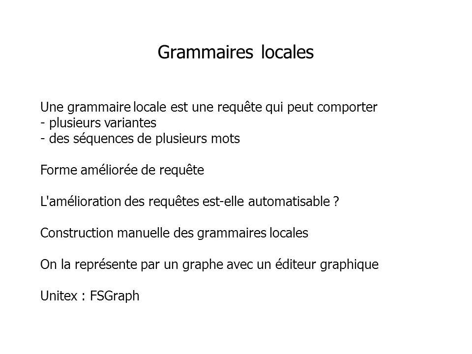 Une grammaire locale est une requête qui peut comporter - plusieurs variantes - des séquences de plusieurs mots Forme améliorée de requête L'améliorat