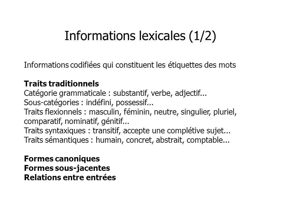 Informations codifiées qui constituent les étiquettes des mots Traits traditionnels Catégorie grammaticale : substantif, verbe, adjectif... Sous-catég