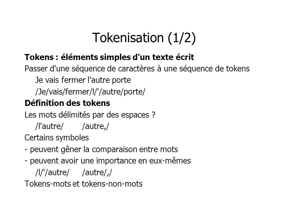 Tokenisation (2/2) Définition par les délimiteurs Simple Fournit seulement les tokens-mots Définition par les tokens Fournit les tokens-mots et les tokens-non-mots Permet de séparer 2 tokens sans délimiteur.