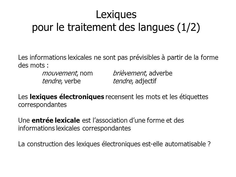 Les informations lexicales ne sont pas prévisibles à partir de la forme des mots : mouvement, nombrièvement, adverbe tendre, verbetendre, adjectif Les