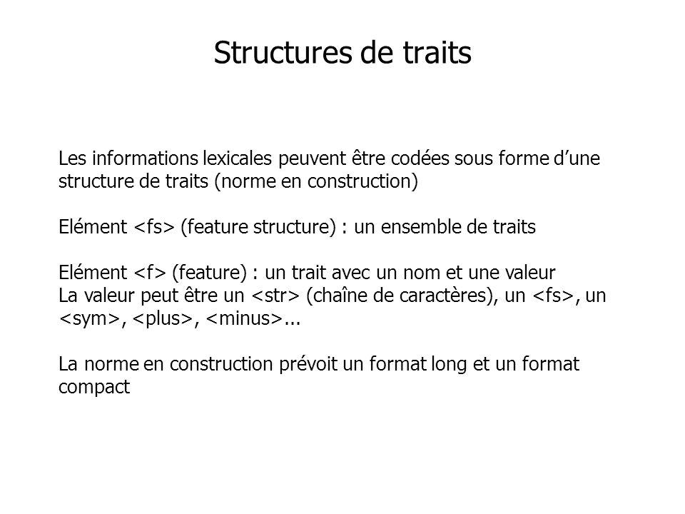 Les informations lexicales peuvent être codées sous forme dune structure de traits (norme en construction) Elément (feature structure) : un ensemble d