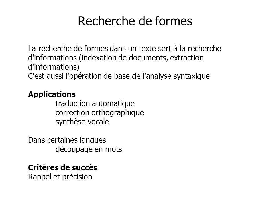 La recherche de formes dans un texte sert à la recherche d'informations (indexation de documents, extraction d'informations) C'est aussi l'opération d