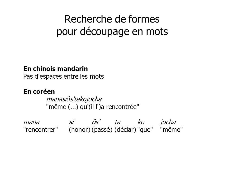 En chinois mandarin Pas d'espaces entre les mots En coréen manasiôs'takojocha