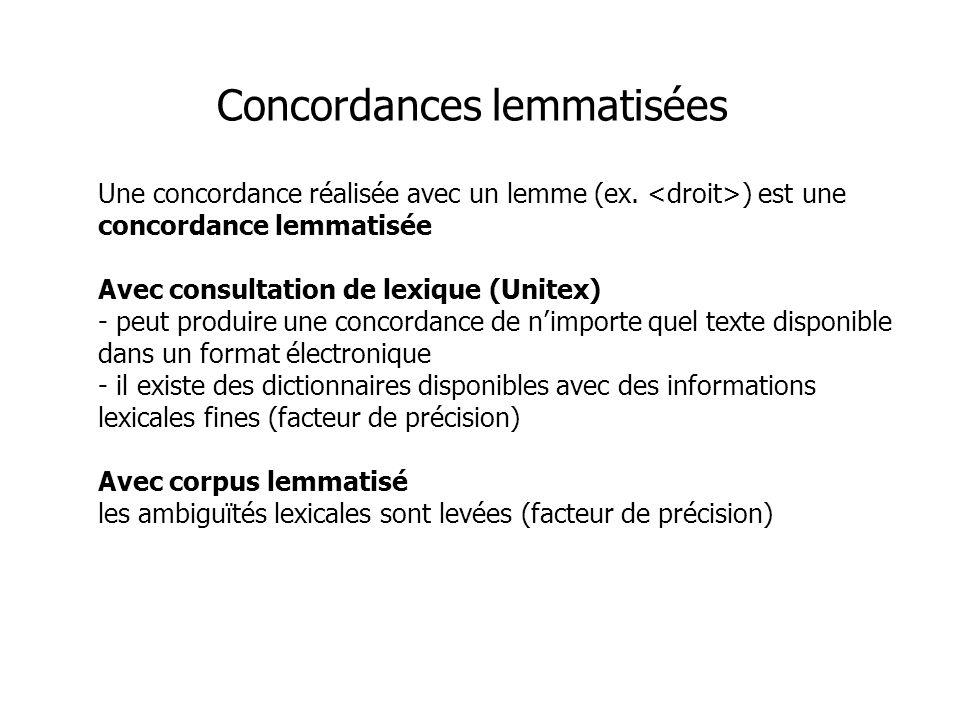 Une concordance réalisée avec un lemme (ex. ) est une concordance lemmatisée Avec consultation de lexique (Unitex) - peut produire une concordance de