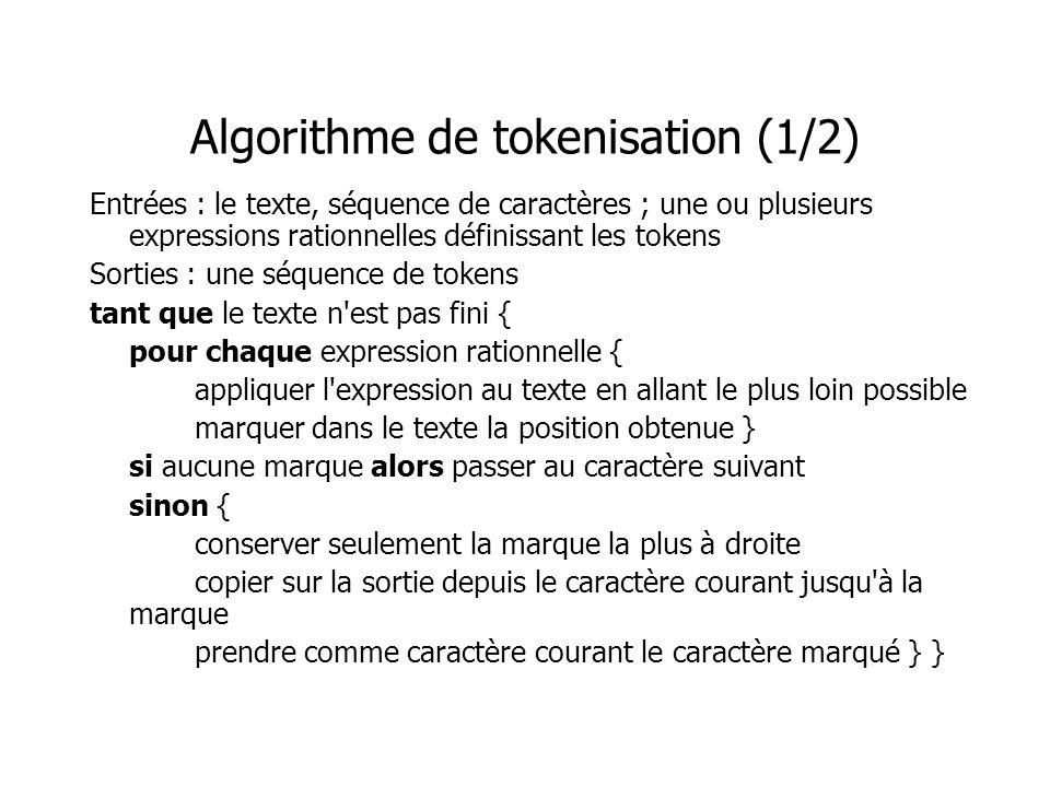 Algorithme de tokenisation (1/2) Entrées : le texte, séquence de caractères ; une ou plusieurs expressions rationnelles définissant les tokens Sorties
