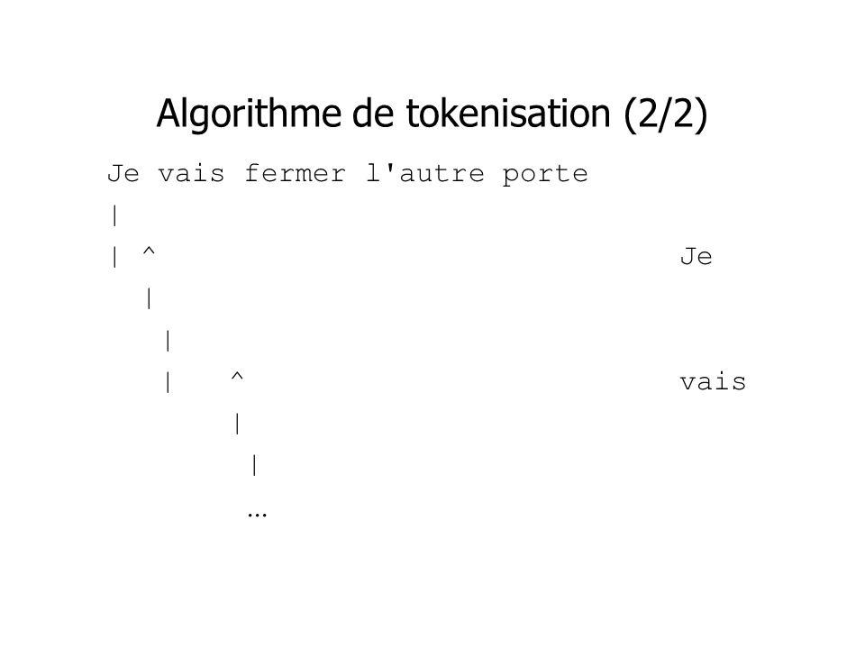 Algorithme de tokenisation (2/2) Je vais fermer l'autre porte | | ^Je | | ^vais |...