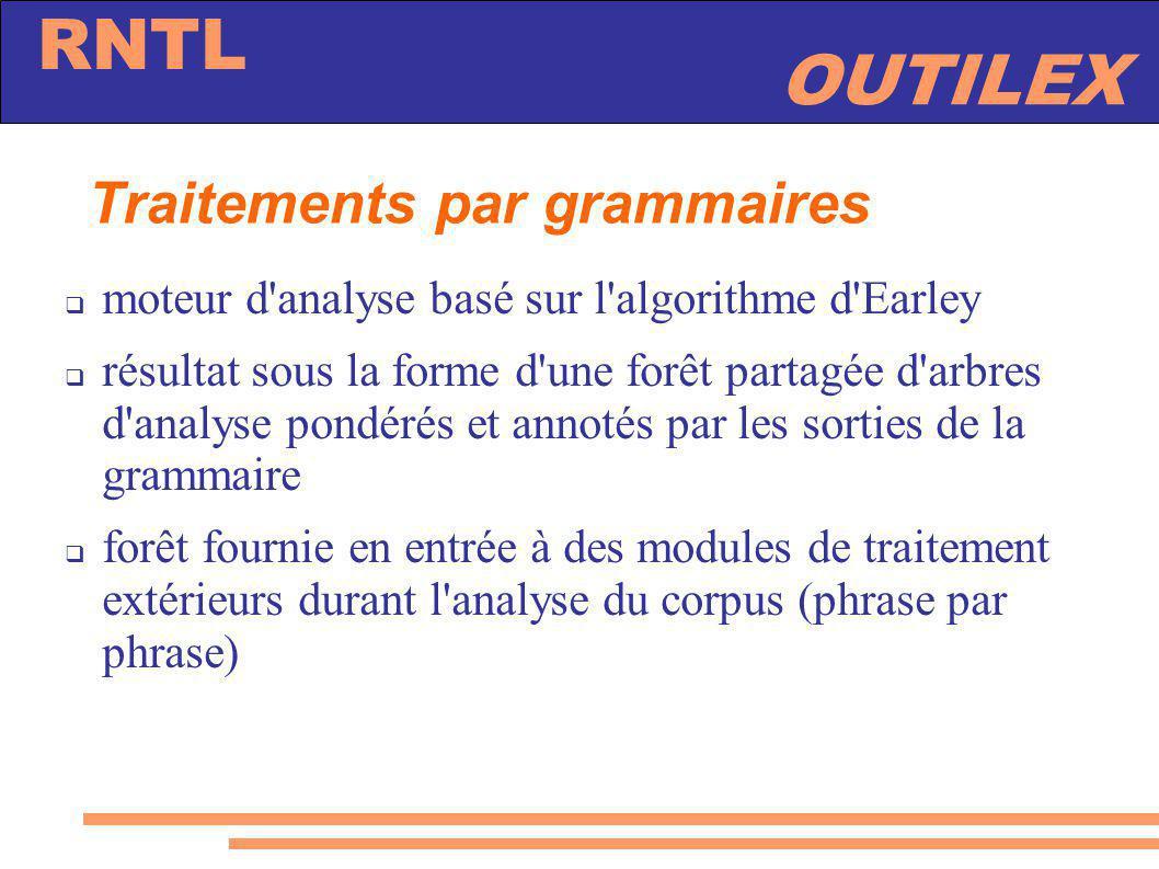 OUTILEX RNTL Traitements par grammaires moteur d'analyse basé sur l'algorithme d'Earley résultat sous la forme d'une forêt partagée d'arbres d'analyse