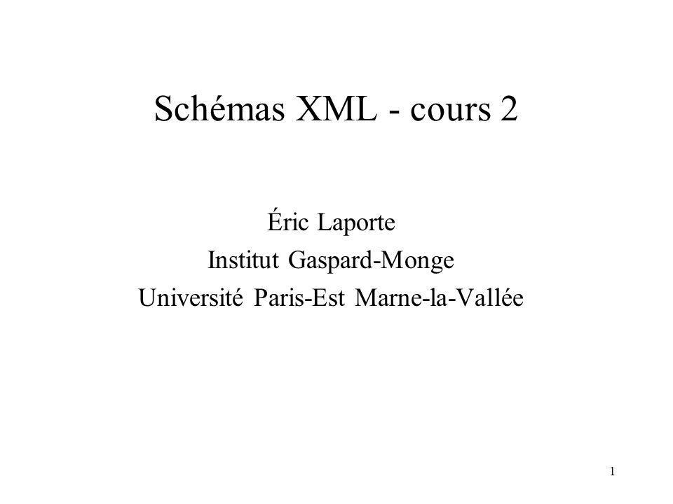 1 Schémas XML - cours 2 Éric Laporte Institut Gaspard-Monge Université Paris-Est Marne-la-Vallée