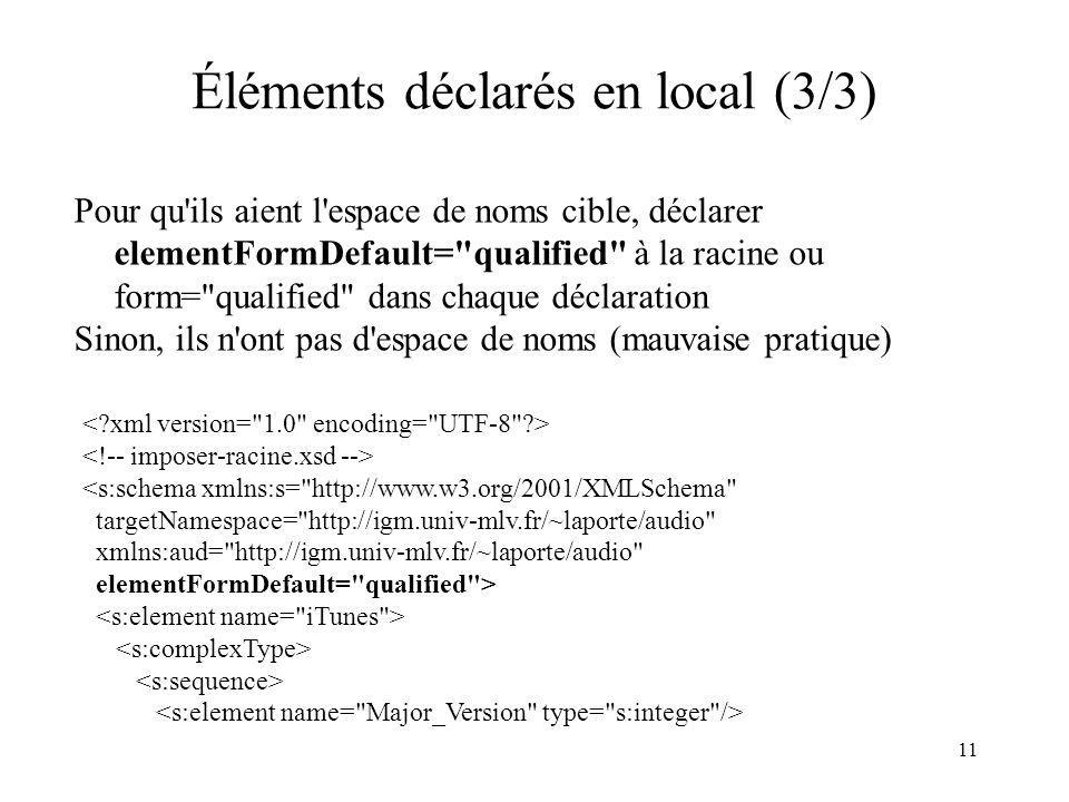 11 Éléments déclarés en local (3/3) Pour qu'ils aient l'espace de noms cible, déclarer elementFormDefault=