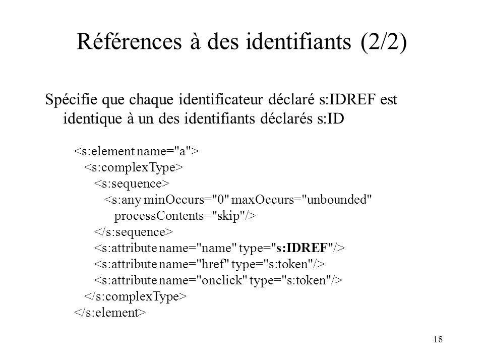 18 Références à des identifiants (2/2) Spécifie que chaque identificateur déclaré s:IDREF est identique à un des identifiants déclarés s:ID <s:any min