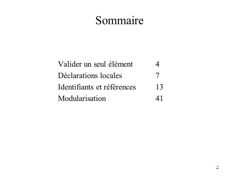 2 Sommaire Valider un seul élément 4 Déclarations locales 7 Identifiants et références 13 Modularisation 41
