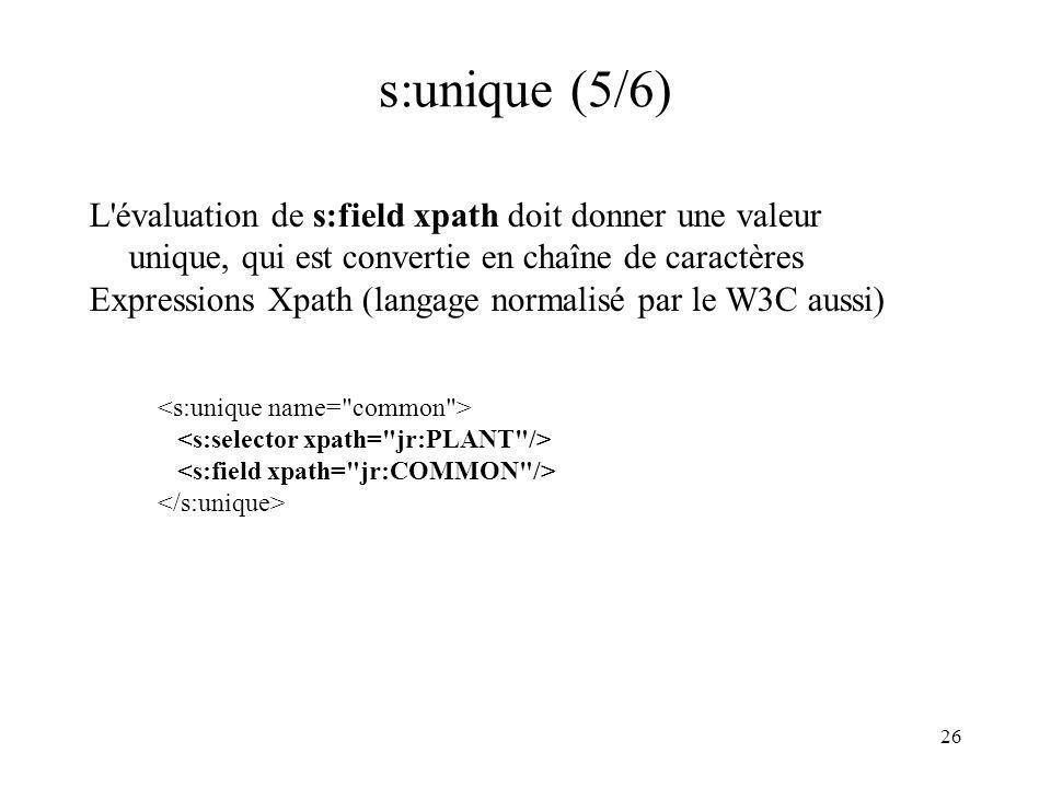 26 s:unique (5/6) L'évaluation de s:field xpath doit donner une valeur unique, qui est convertie en chaîne de caractères Expressions Xpath (langage no