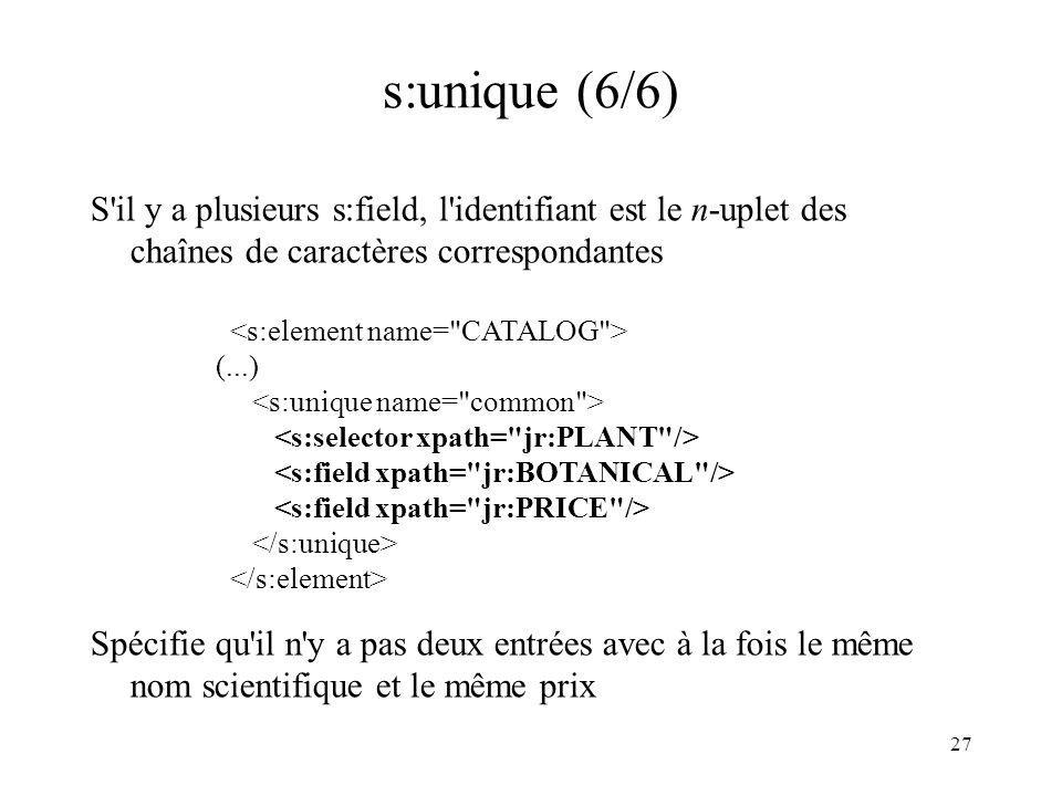 27 s:unique (6/6) S'il y a plusieurs s:field, l'identifiant est le n-uplet des chaînes de caractères correspondantes (...) Spécifie qu'il n'y a pas de
