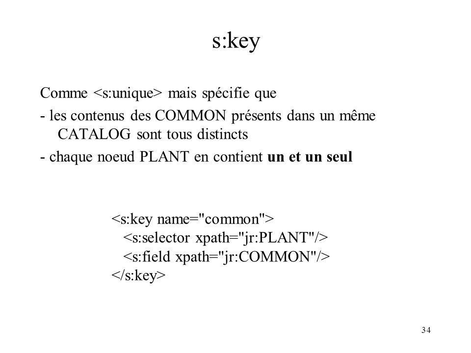 34 s:key Comme mais spécifie que - les contenus des COMMON présents dans un même CATALOG sont tous distincts - chaque noeud PLANT en contient un et un