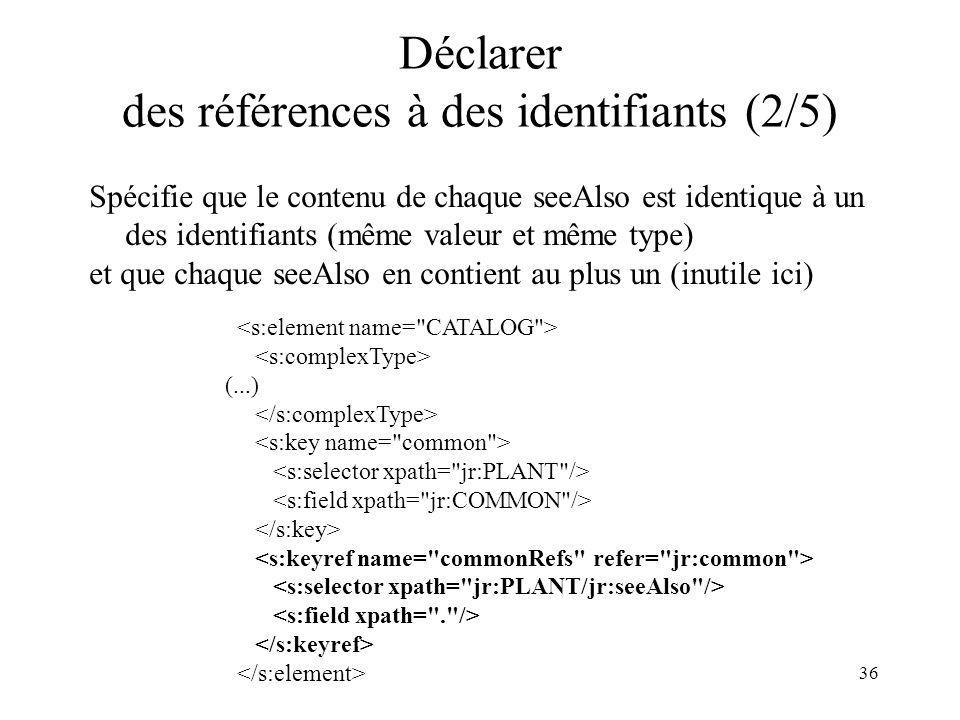 36 Déclarer des références à des identifiants (2/5) Spécifie que le contenu de chaque seeAlso est identique à un des identifiants (même valeur et même