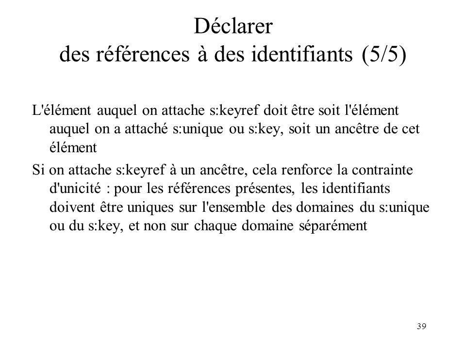 39 Déclarer des références à des identifiants (5/5) L'élément auquel on attache s:keyref doit être soit l'élément auquel on a attaché s:unique ou s:ke