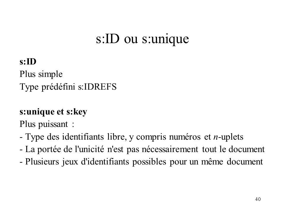 40 s:ID ou s:unique s:ID Plus simple Type prédéfini s:IDREFS s:unique et s:key Plus puissant : - Type des identifiants libre, y compris numéros et n-u