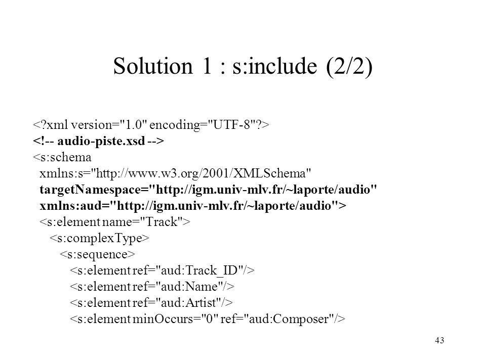 43 Solution 1 : s:include (2/2) <s:schema xmlns:s=