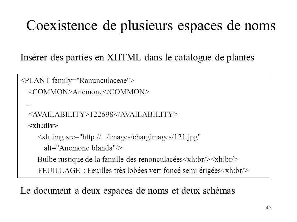 45 Coexistence de plusieurs espaces de noms Insérer des parties en XHTML dans le catalogue de plantes Anemone... 122698 <xh:img src=