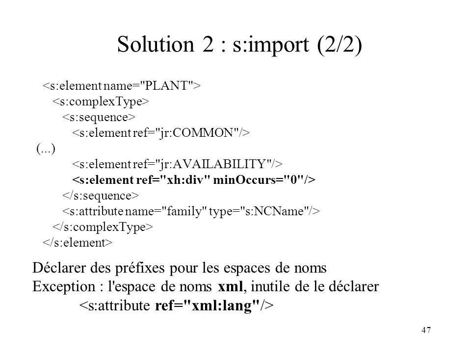 47 Solution 2 : s:import (2/2) (...) Déclarer des préfixes pour les espaces de noms Exception : l'espace de noms xml, inutile de le déclarer