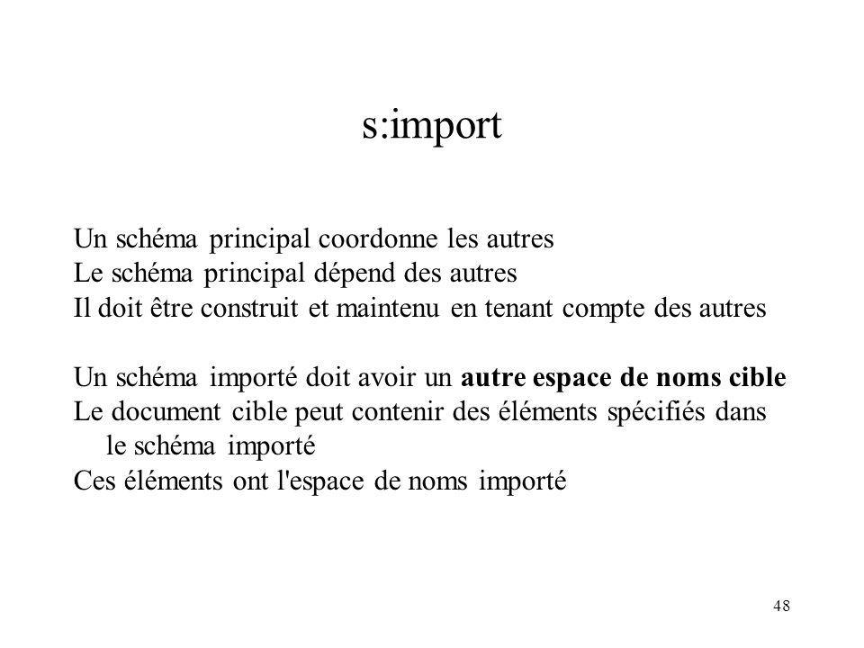 48 s:import Un schéma principal coordonne les autres Le schéma principal dépend des autres Il doit être construit et maintenu en tenant compte des aut