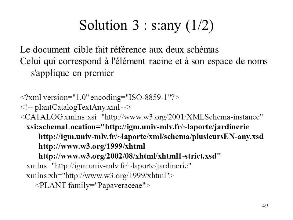 49 Solution 3 : s:any (1/2) Le document cible fait référence aux deux schémas Celui qui correspond à l'élément racine et à son espace de noms s'appliq