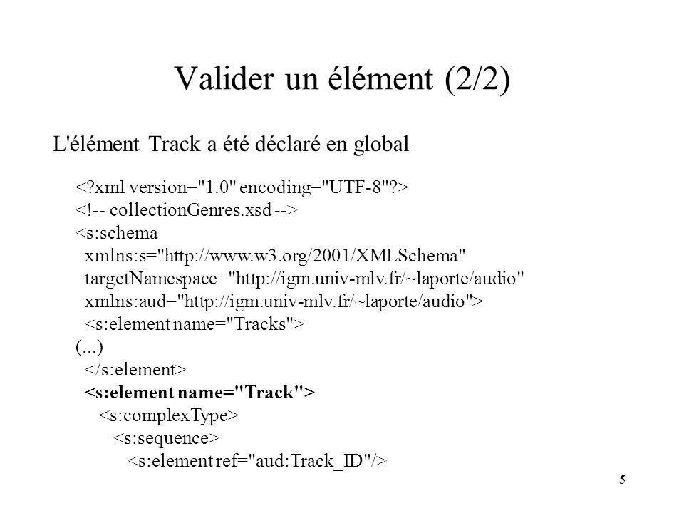 5 Valider un élément (2/2) L'élément Track a été déclaré en global <s:schema xmlns:s=