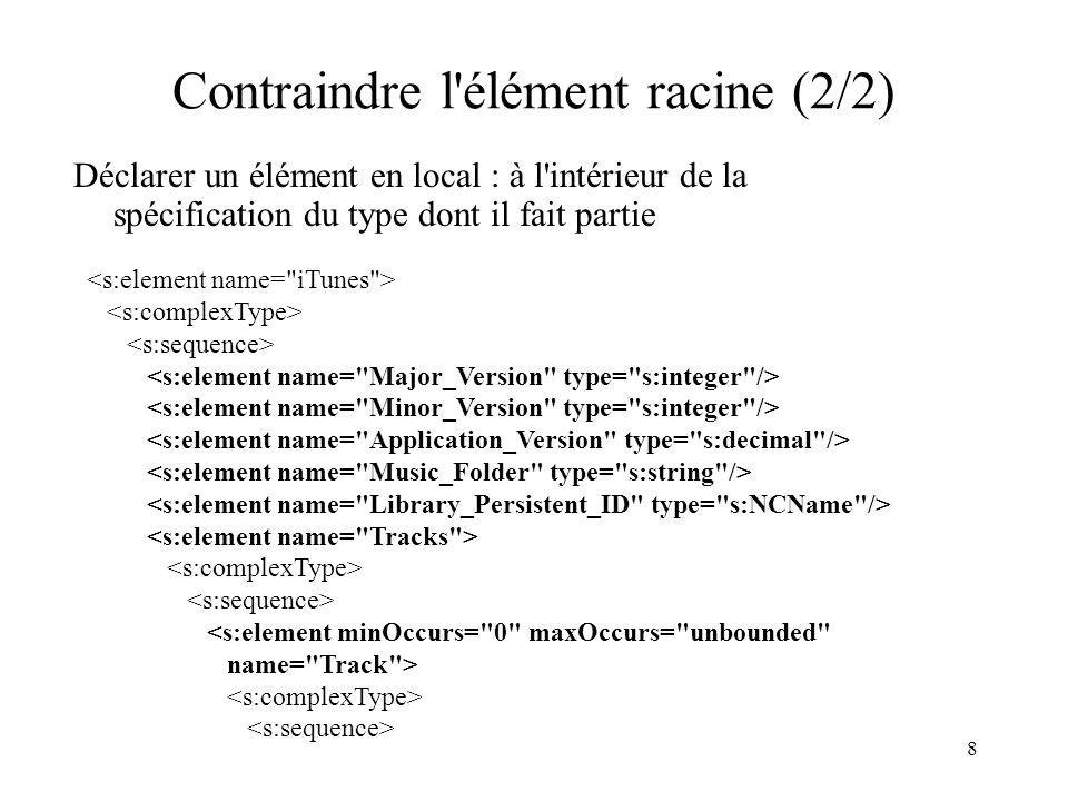 8 Contraindre l'élément racine (2/2) Déclarer un élément en local : à l'intérieur de la spécification du type dont il fait partie <s:element minOccurs