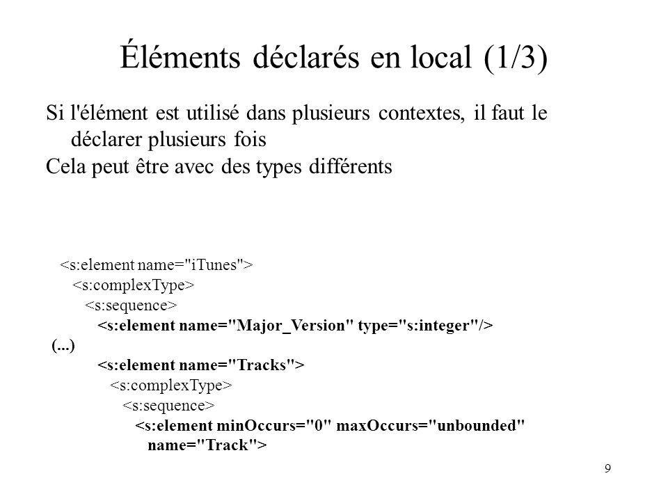 9 Éléments déclarés en local (1/3) Si l'élément est utilisé dans plusieurs contextes, il faut le déclarer plusieurs fois Cela peut être avec des types