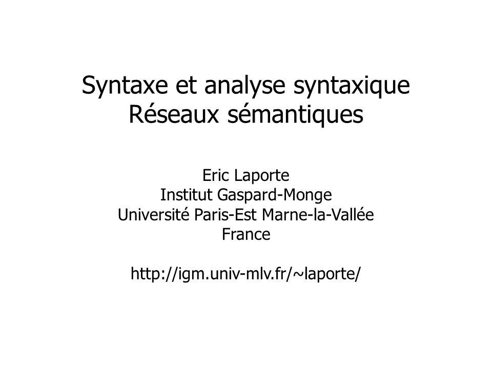 Eric Laporte Institut Gaspard-Monge Université Paris-Est Marne-la-Vallée France http://igm.univ-mlv.fr/~laporte/ Syntaxe et analyse syntaxique Réseaux