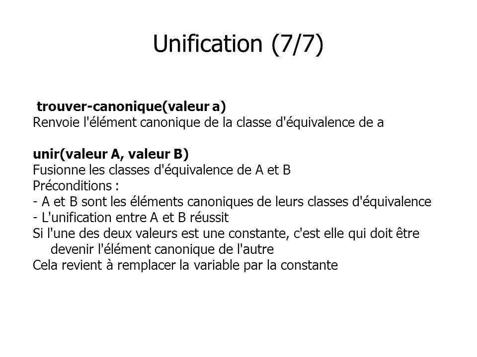 Unification (7/7) trouver-canonique(valeur a) Renvoie l'élément canonique de la classe d'équivalence de a unir(valeur A, valeur B) Fusionne les classe