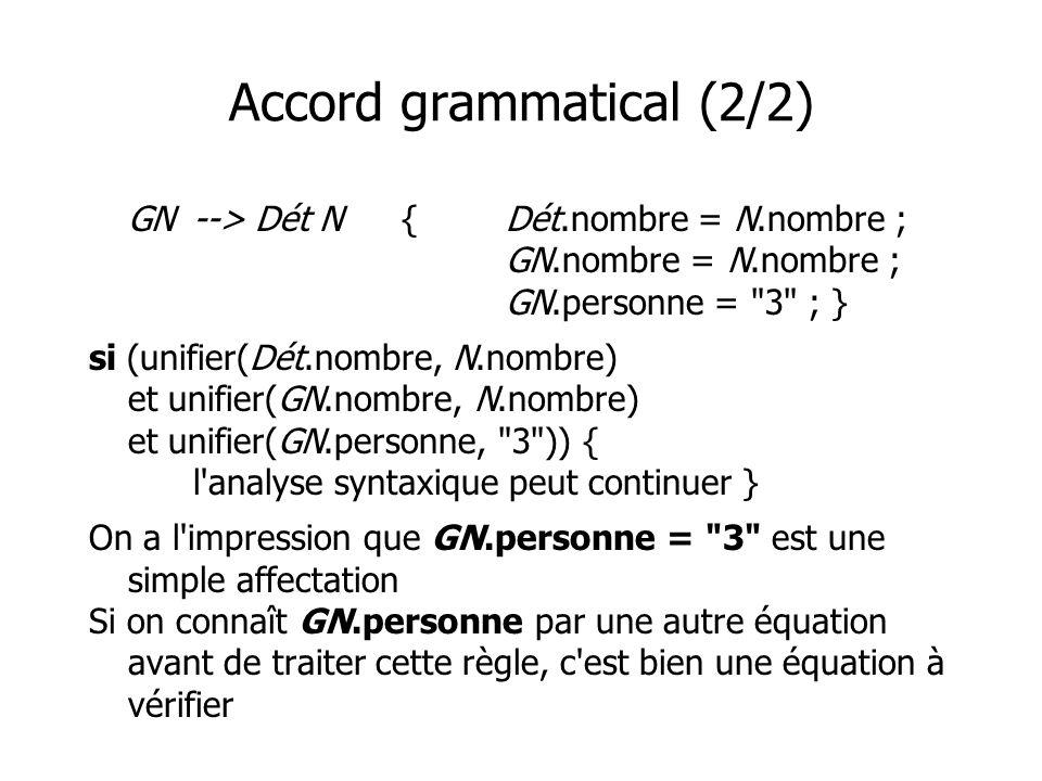 Accord grammatical (2/2) GN--> Dét N{Dét.nombre = N.nombre ; GN.nombre = N.nombre ; GN.personne =
