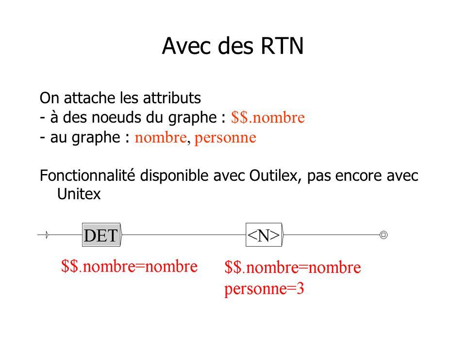 Avec des RTN On attache les attributs - à des noeuds du graphe : $$.nombre - au graphe : nombre, personne Fonctionnalité disponible avec Outilex, pas