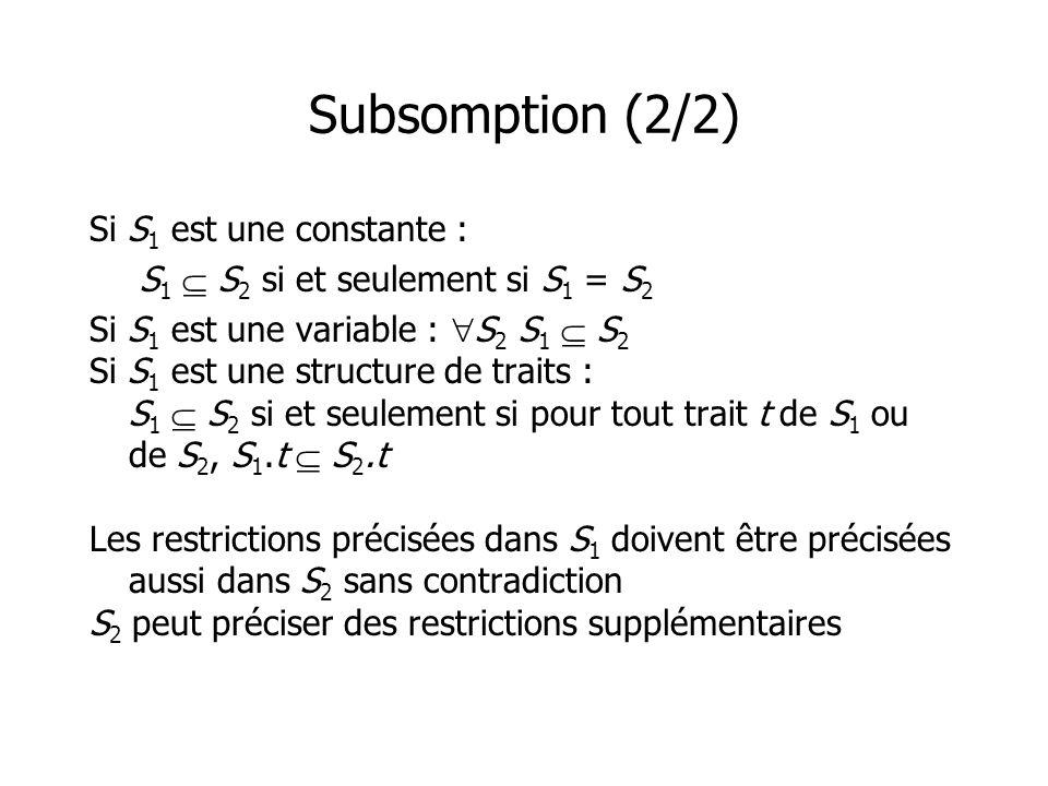 Subsomption (2/2) Si S 1 est une constante : S 1 S 2 si et seulement si S 1 = S 2 Si S 1 est une variable : S 2 S 1 S 2 Si S 1 est une structure de tr