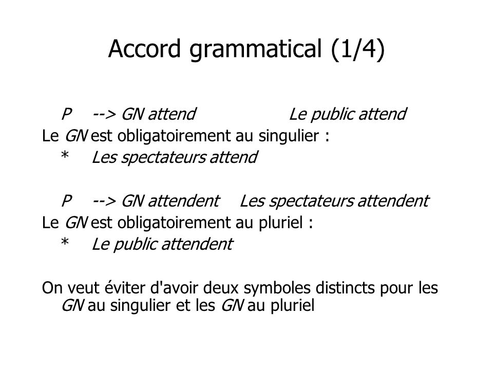 Accord grammatical (1/4) P--> GN attendLe public attend Le GN est obligatoirement au singulier : *Les spectateurs attend P--> GN attendentLes spectateurs attendent Le GN est obligatoirement au pluriel : *Le public attendent On veut éviter d avoir deux symboles distincts pour les GN au singulier et les GN au pluriel