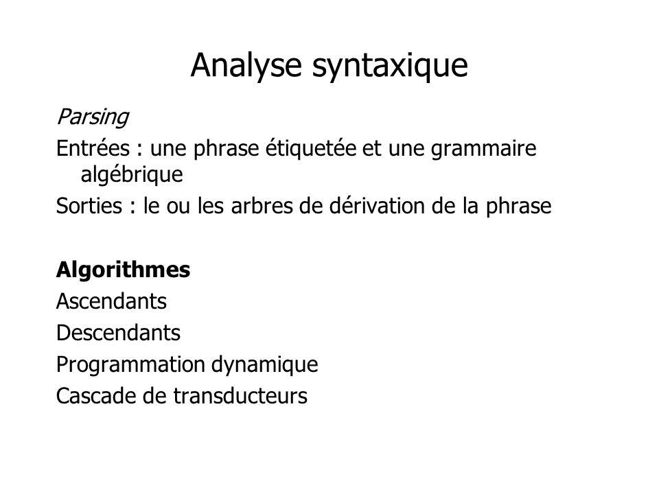 Analyse syntaxique Parsing Entrées : une phrase étiquetée et une grammaire algébrique Sorties : le ou les arbres de dérivation de la phrase Algorithme