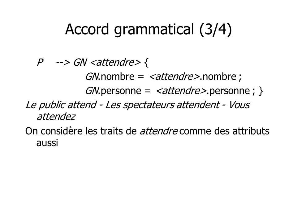Accord grammatical (3/4) P--> GN { GN.nombre =.nombre ; GN.personne =.personne ; } Le public attend - Les spectateurs attendent - Vous attendez On con