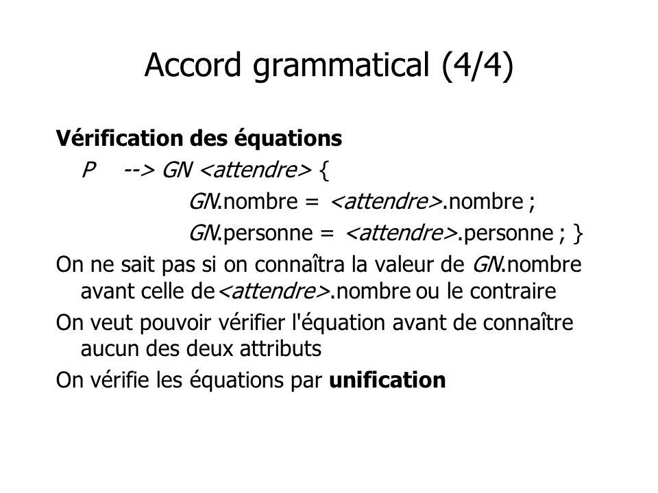 Accord grammatical (4/4) Vérification des équations P--> GN { GN.nombre =.nombre ; GN.personne =.personne ; } On ne sait pas si on connaîtra la valeur