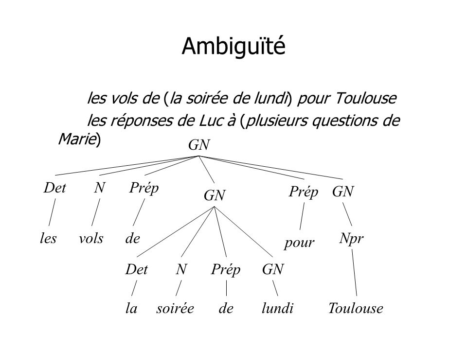 Ambiguïté les vols de (la soirée de lundi) pour Toulouse les réponses de Luc à (plusieurs questions de Marie) GN DetN lesvolsde Prép pour Prép DetNGN