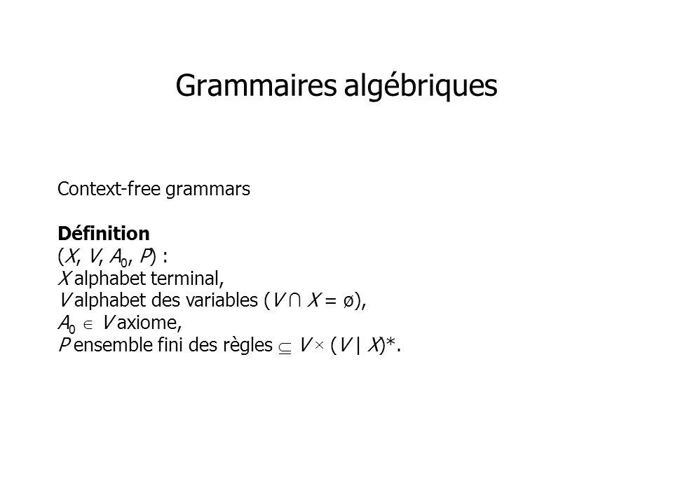 Context-free grammars Définition (X, V, A 0, P) : X alphabet terminal, V alphabet des variables (V X = ø), A 0 V axiome, P ensemble fini des règles V