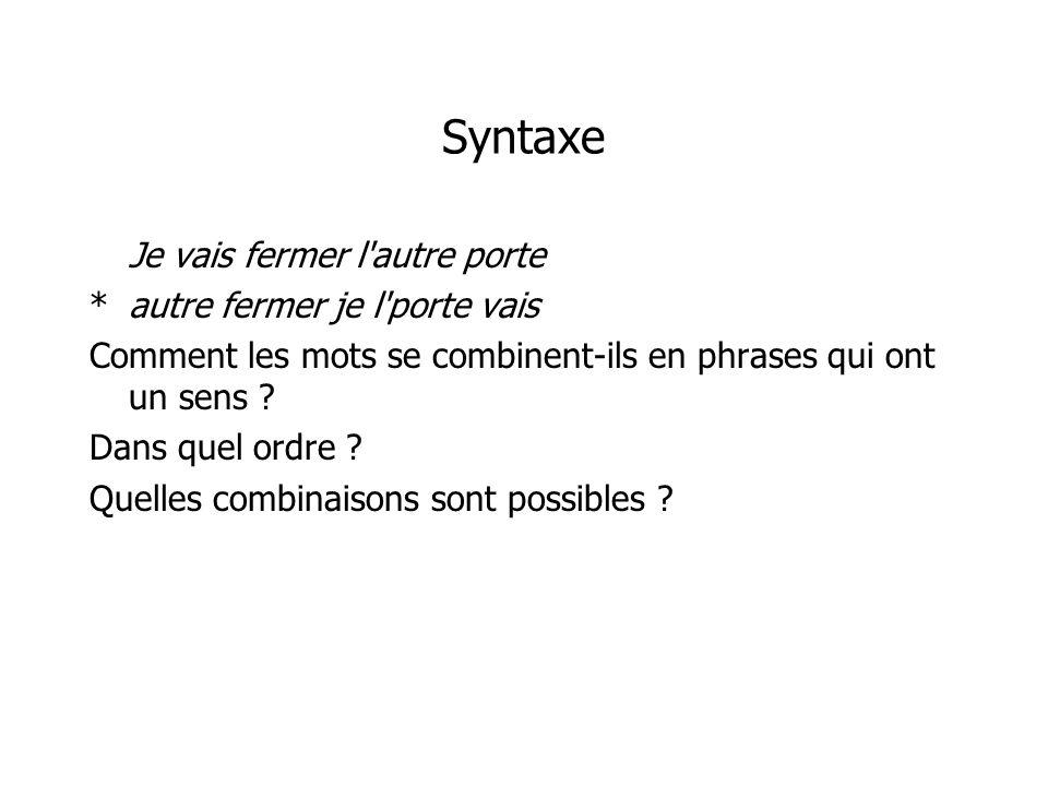 Syntaxe Je vais fermer l'autre porte *autre fermer je l'porte vais Comment les mots se combinent-ils en phrases qui ont un sens ? Dans quel ordre ? Qu