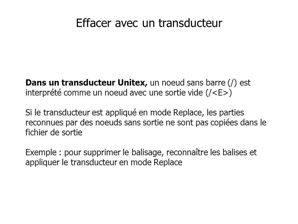 Dans un transducteur Unitex, un noeud sans barre (/) est interprété comme un noeud avec une sortie vide (/ ) Si le transducteur est appliqué en mode Replace, les parties reconnues par des noeuds sans sortie ne sont pas copiées dans le fichier de sortie Exemple : pour supprimer le balisage, reconnaître les balises et appliquer le transducteur en mode Replace Effacer avec un transducteur