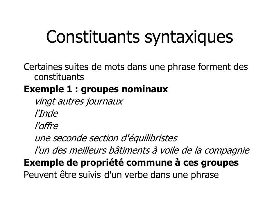 Constituants syntaxiques Certaines suites de mots dans une phrase forment des constituants Exemple 1 : groupes nominaux vingt autres journaux l'Inde l