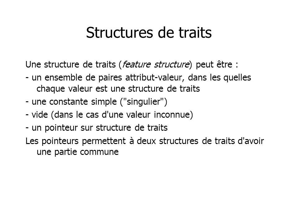 Structures de traits Une structure de traits (feature structure) peut être : - un ensemble de paires attribut-valeur, dans les quelles chaque valeur est une structure de traits - une constante simple ( singulier ) - vide (dans le cas d une valeur inconnue) - un pointeur sur structure de traits Les pointeurs permettent à deux structures de traits d avoir une partie commune
